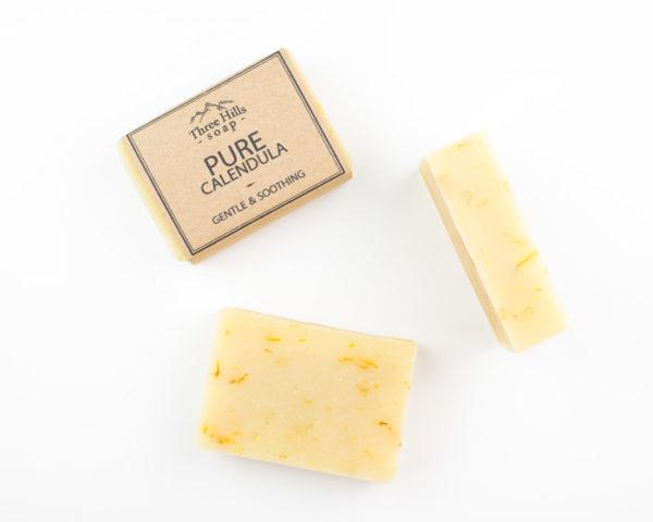 naked and wrapped handmade pure calendula soap bars