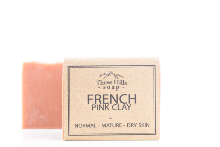 Two french pink clay soaps