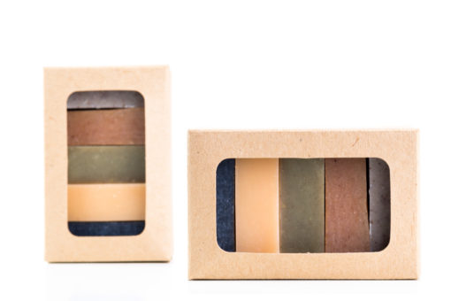 Two sample boxes with natural soap